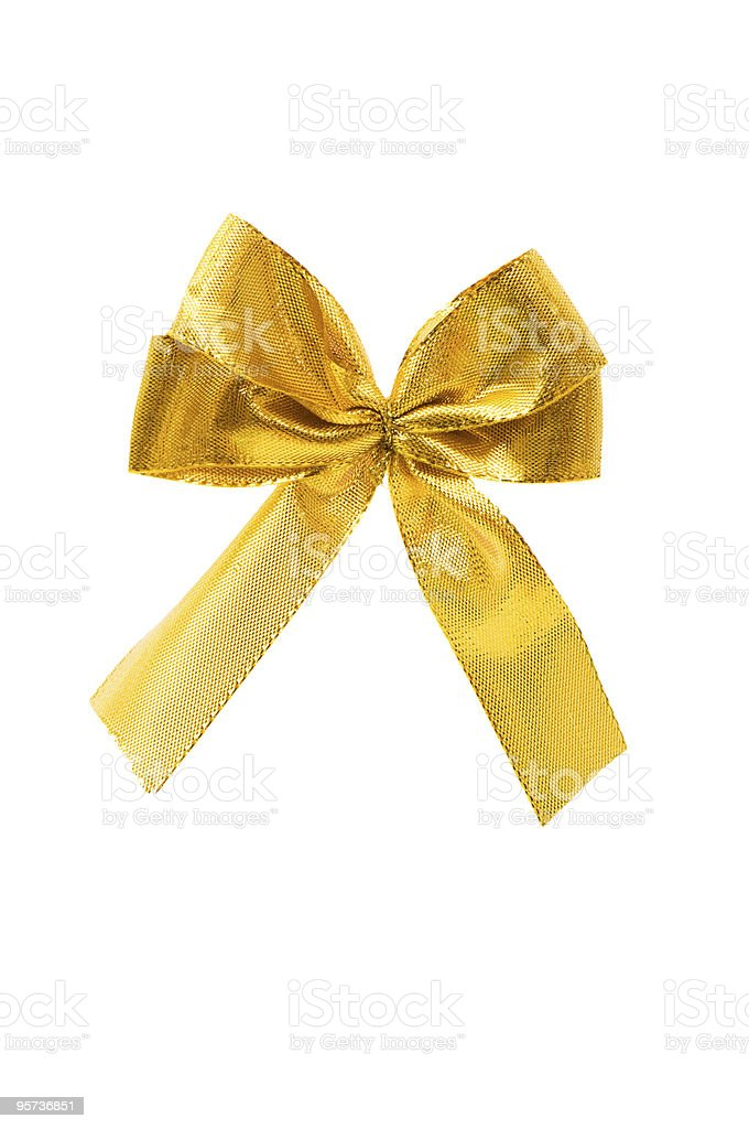 Golden bow isolated on the white background stock photo