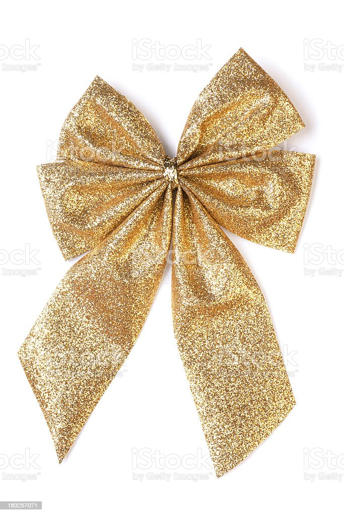 Golden Bow (clipping path) stock photo