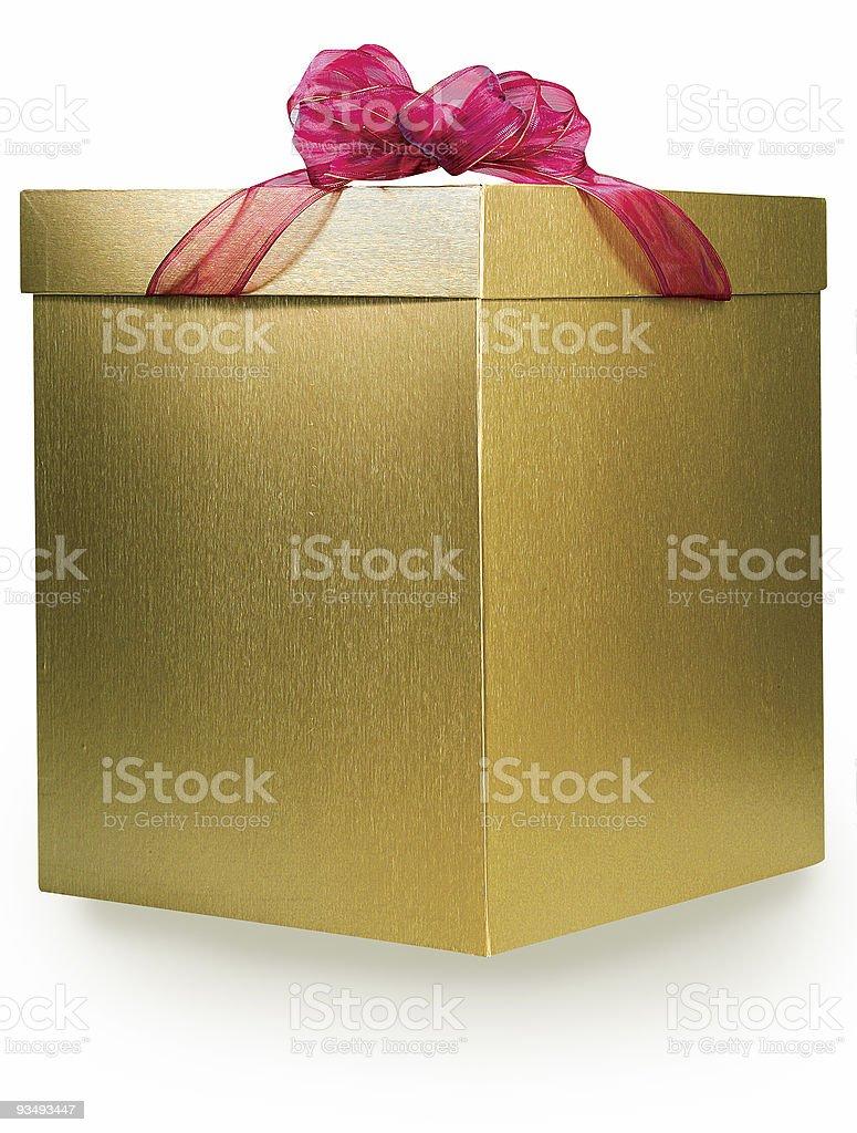Golden Box Gift stock photo