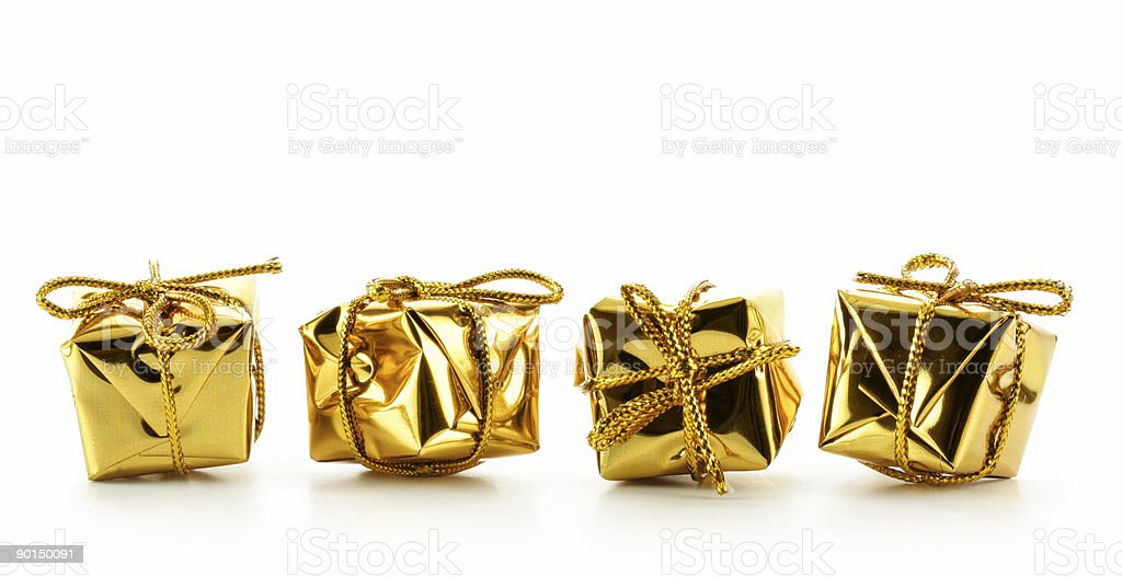 Golden boxes isolated royalty-free stock photo