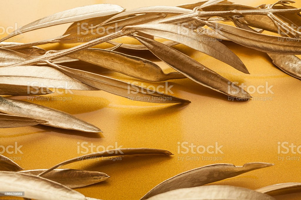 Golden branches stock photo