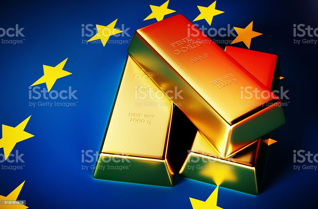 Golden bricks with EU background stock photo