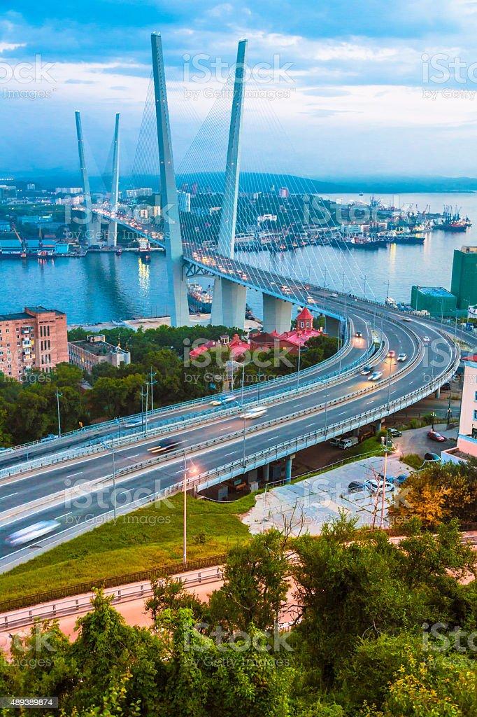 Golden Bridge in Vladivostok stock photo
