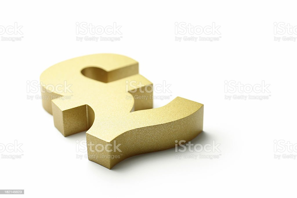 Golden British Pound Symbol royalty-free stock photo