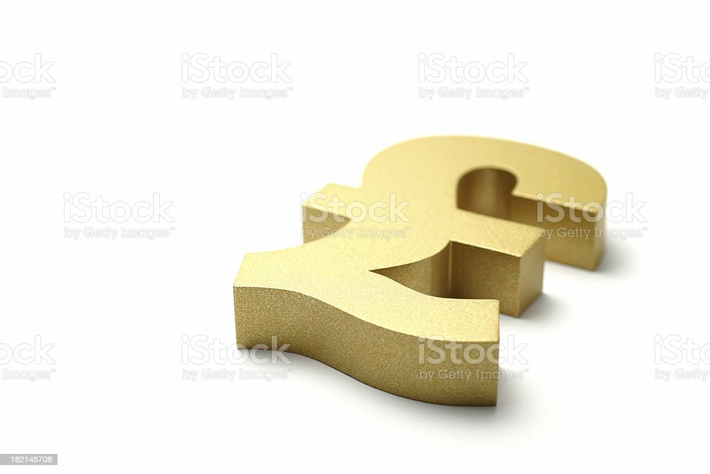Golden British Pound Symbol royalty-free stock photo