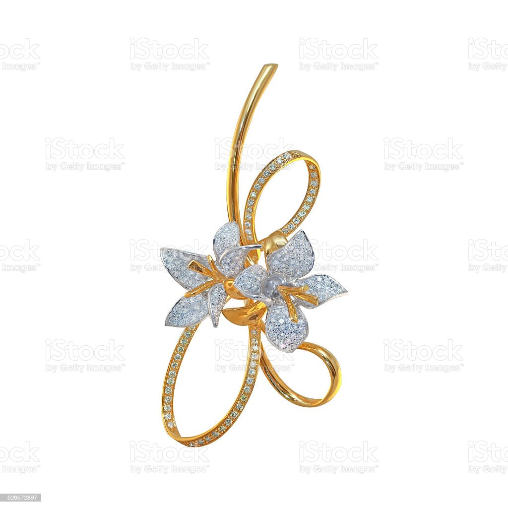golden brooch with diamonds on a white stock photo