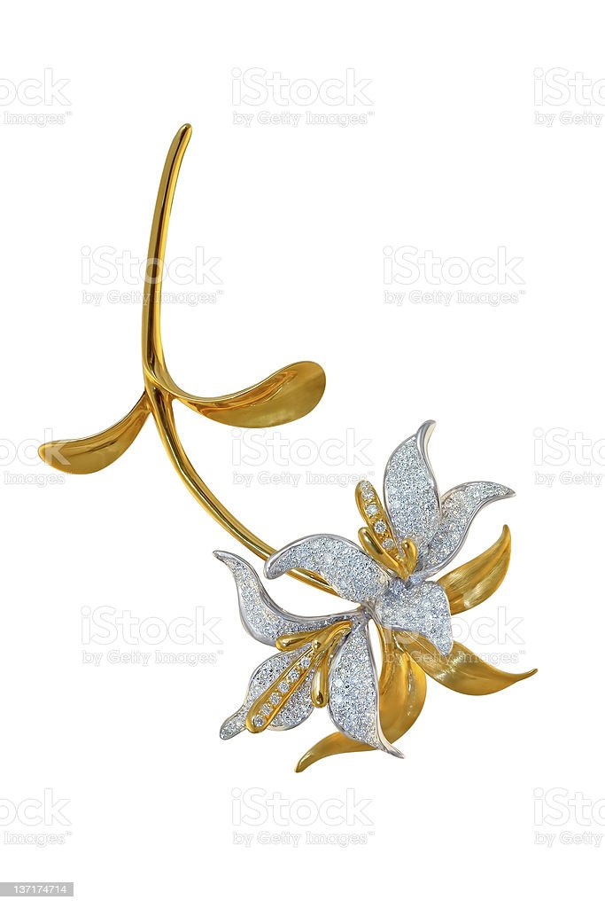 golden brooch with diamonds stock photo