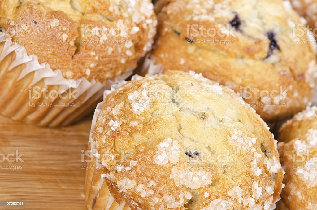 Golden brown blueberry muffins royalty-free stock photo