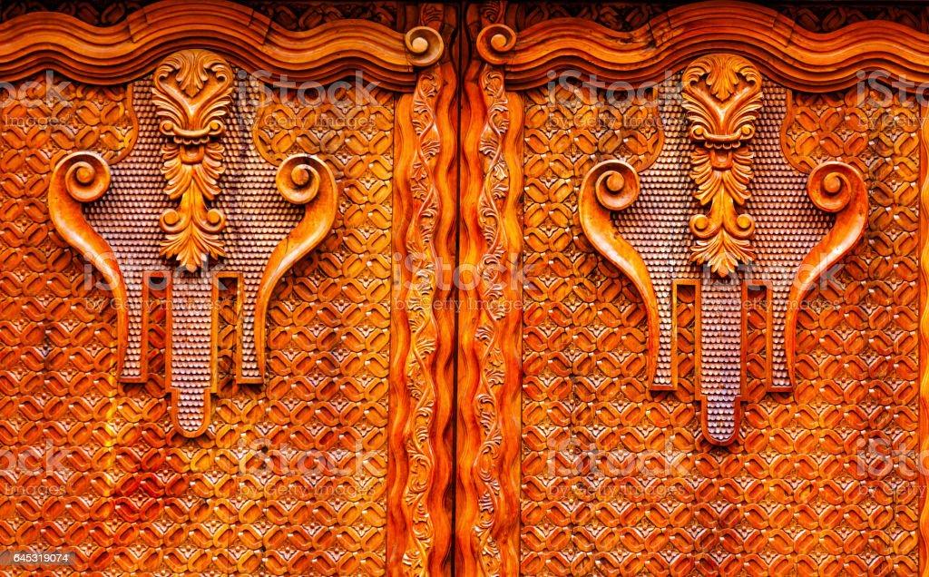 Golden Brown Wooden Door San Miguel de Allende Mexico stock photo