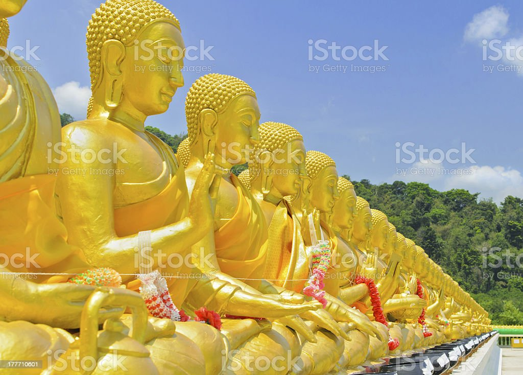 Golden buddha at Memorial Buddhist Park royalty-free stock photo