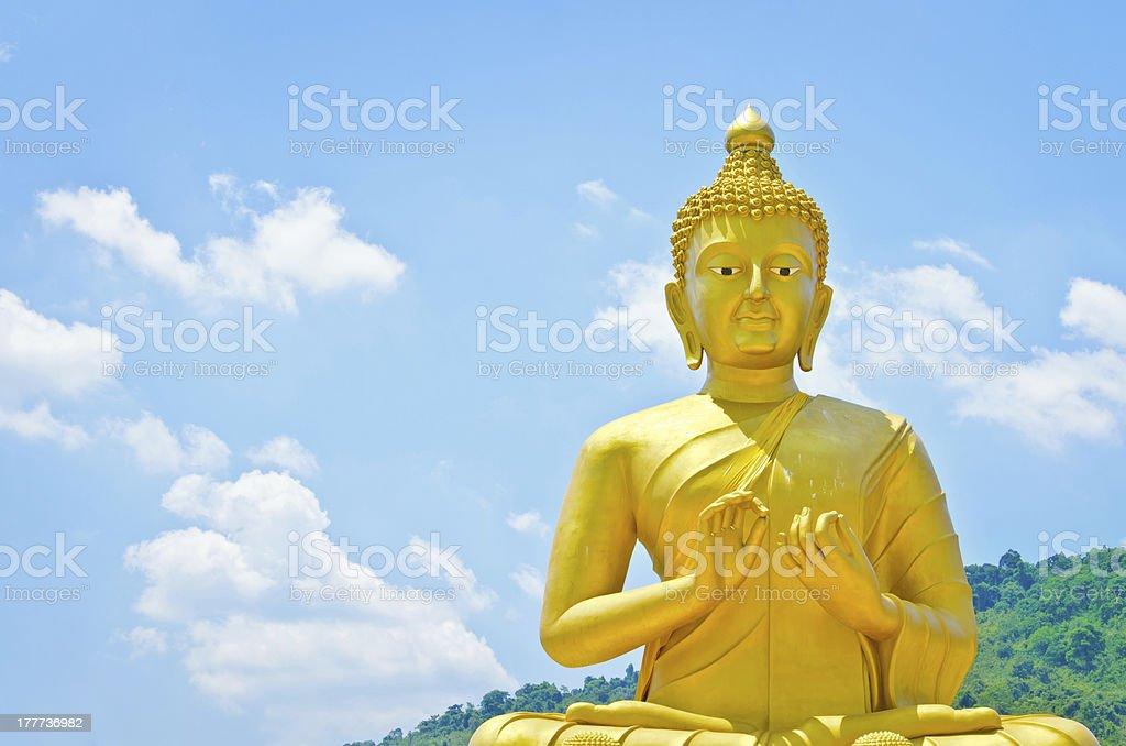Golden buddha at Memorial Buddhist Park royalty-free stock photo