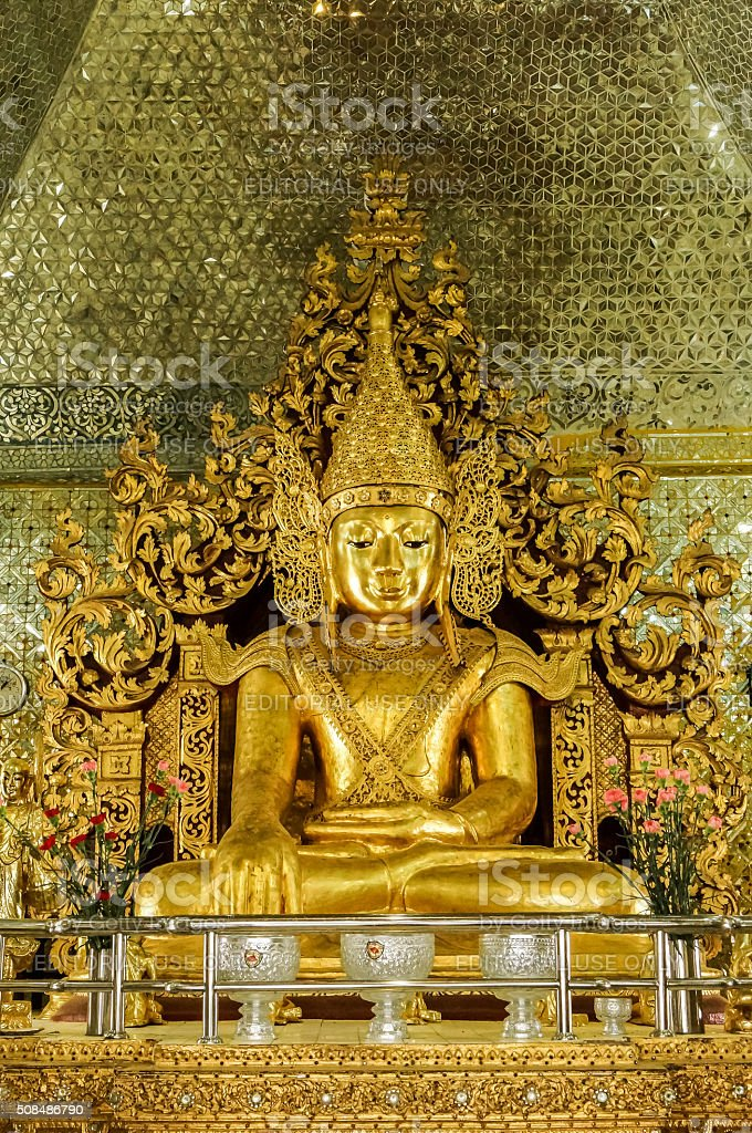 Golden Buddha at Sandamuni Pagoda Mandalay Burma with jewel ushnisha stock photo