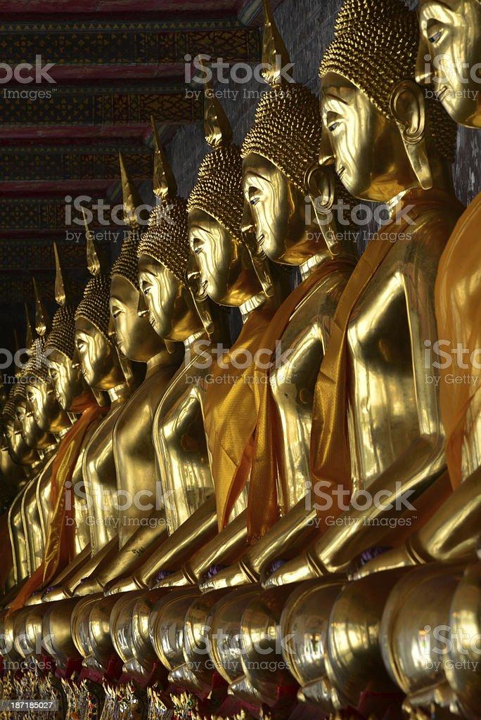 Golden Buddha at Wat Suthat temple in Bangkok stock photo