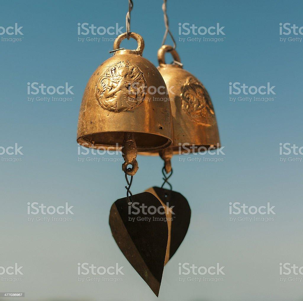 Golden Buddha bells stock photo