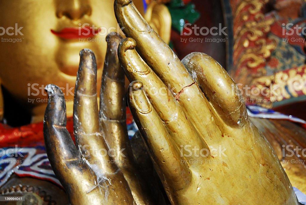 golden Buddha hands stock photo