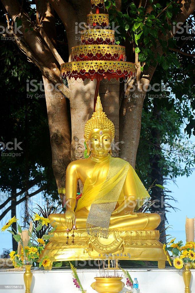 Golden Buddha in meditation  statue royalty-free stock photo