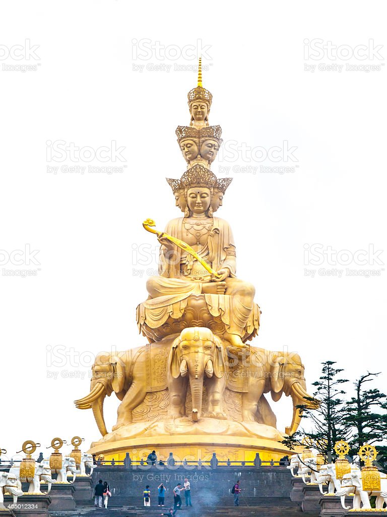 Golden Buddha on Mounth Emei stock photo