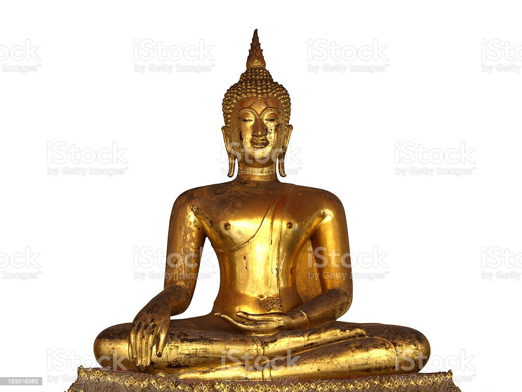 golden buddha on white background royalty-free stock photo