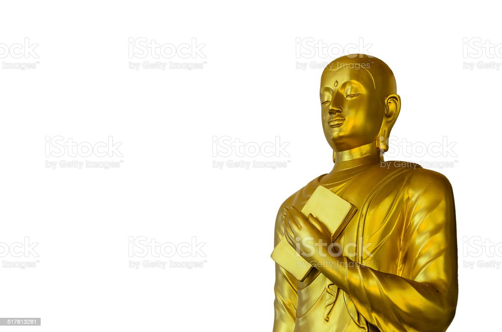 Golden Buddha on White Background with Clipping Path stock photo