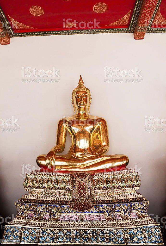 golden buddha sculpture / From Wat Pho bangkok, Thailand. stock photo