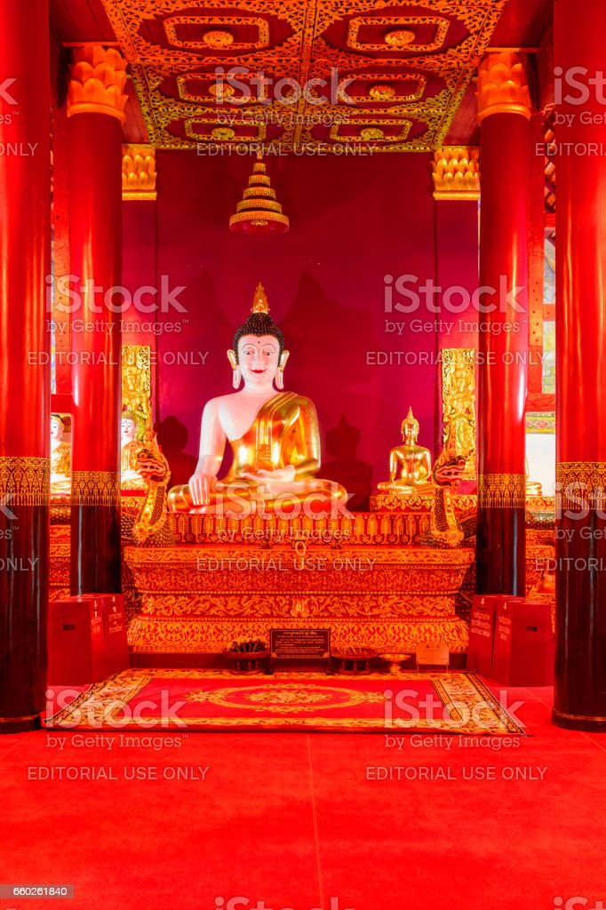 Golden Buddha statue at temple Nan, Thailand stock photo