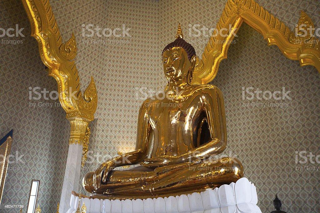 Golden Buddha Statue at Wat Traimit in Bangkok stock photo