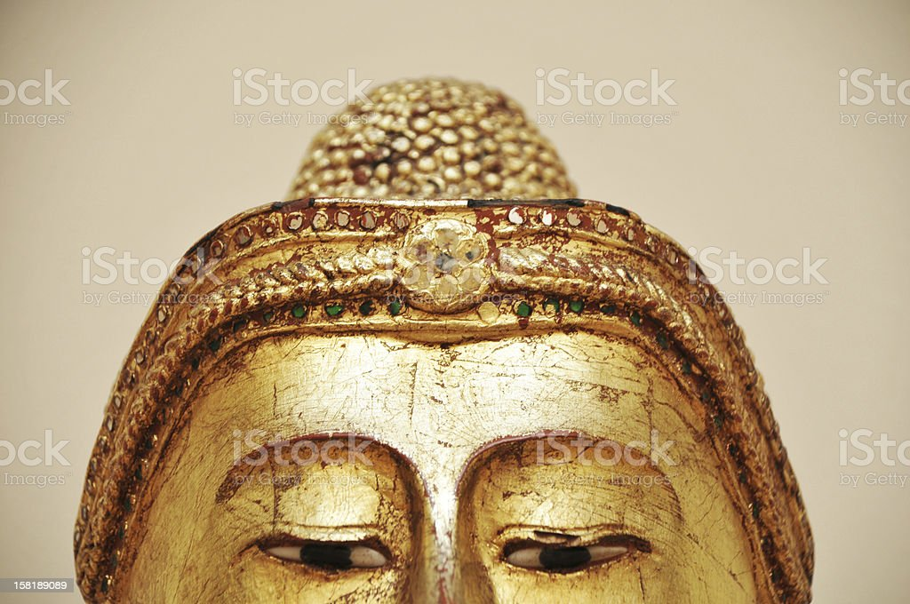 golden buddha statue head royalty-free stock photo