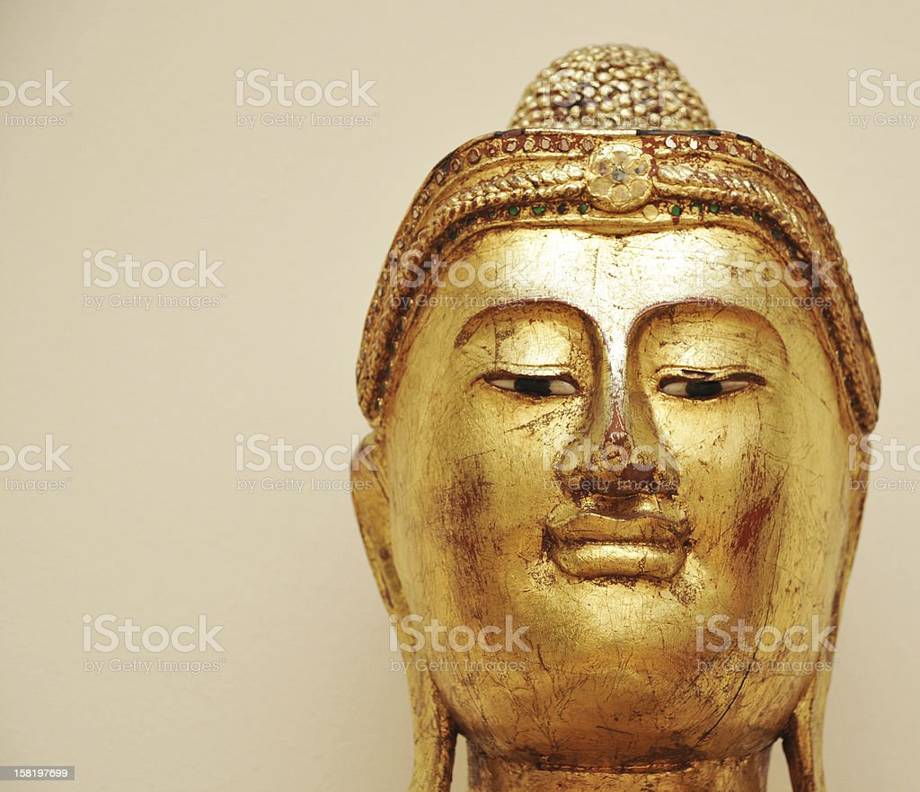 golden buddha statue head royalty-free stock photo