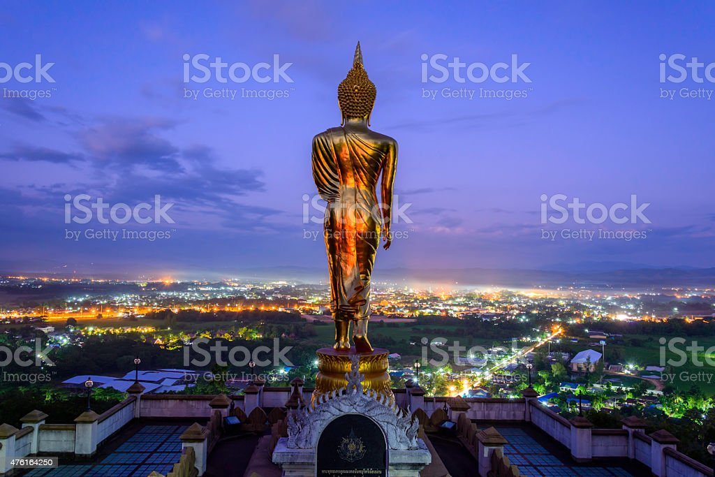 Golden buddha statue in Khao Noi temple, Nan Province, Thailand royalty-free stock photo