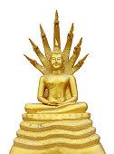 Golden Buddha Statue isolated on white.