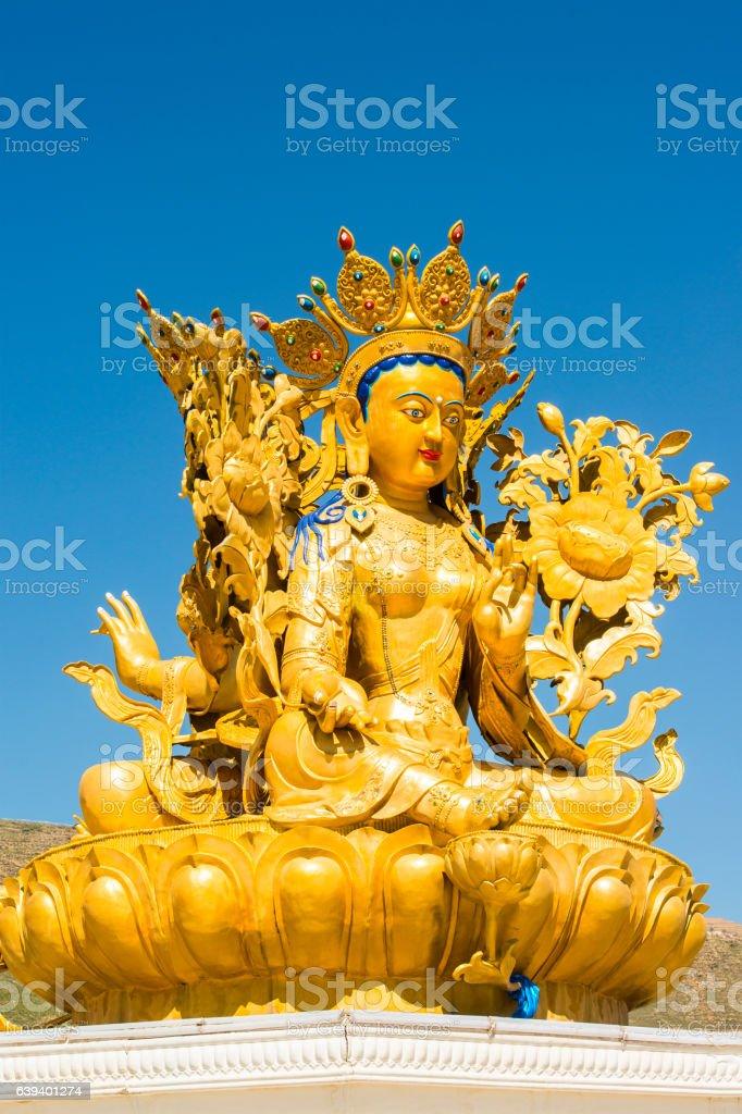 golden Buddha statue, Langmusi monastery, Eastern Tiebet stock photo
