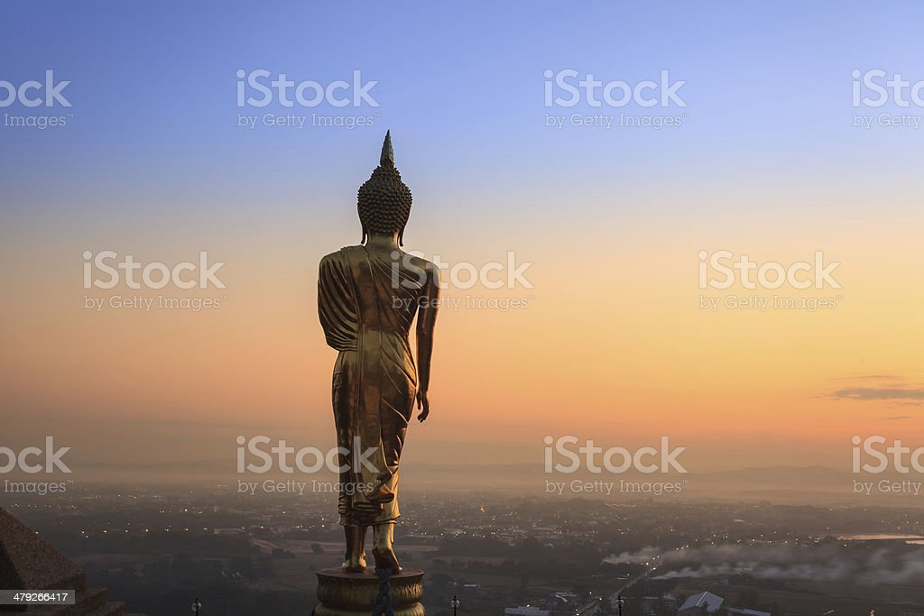Golden Buddha statue Nan Province, Thailand stock photo