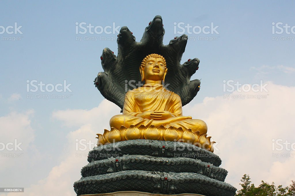 Golden Buddha Statue thailand rayong stock photo