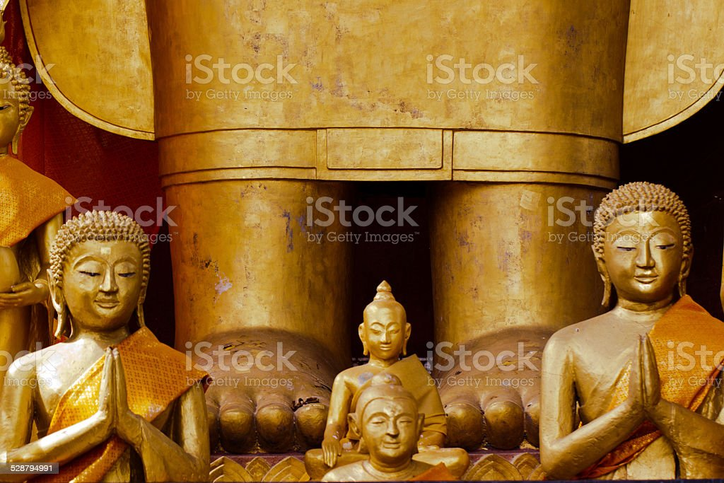 Golden Buddha statues stock photo
