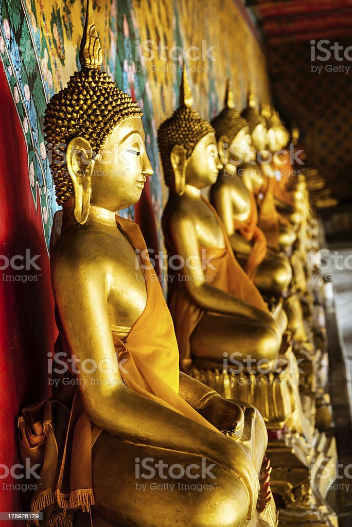 Golden Buddha Statues, Wat Arun, Bangkok, Thailand royalty-free stock photo