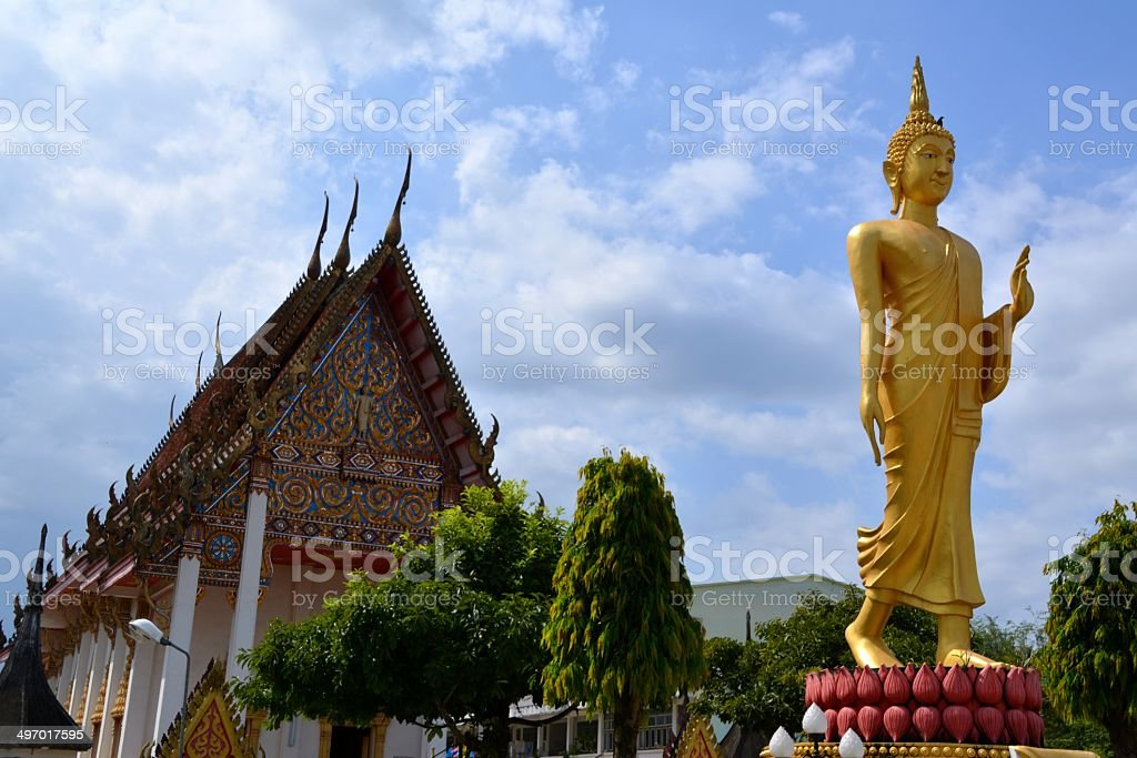 Golden Buddha, Wat Ni Korn Rang Sa Rid Temple, Thailand stock photo