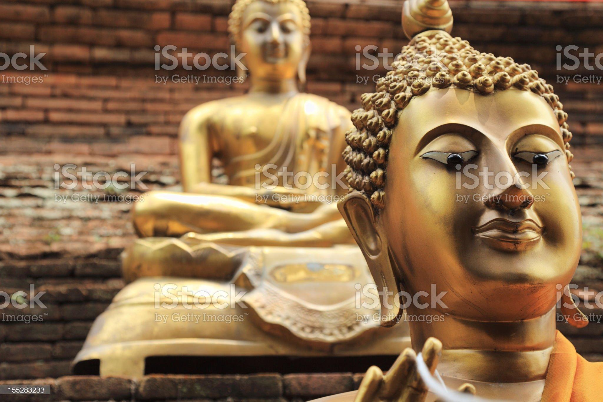 Golden Buddhas royalty-free stock photo
