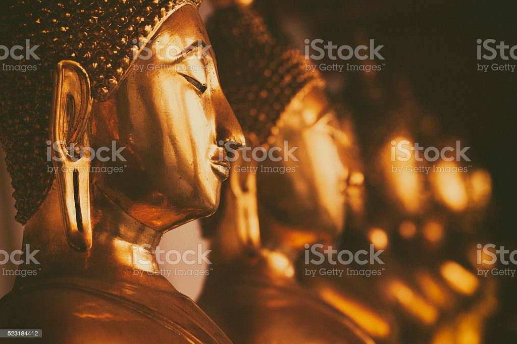 Golden buddhas stock photo
