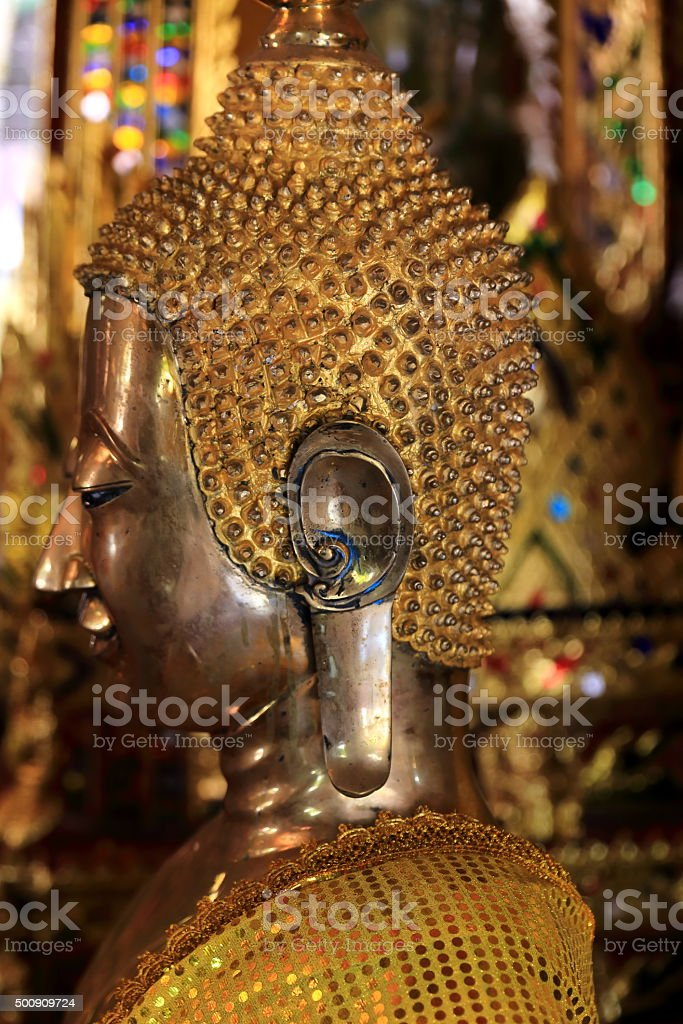 golden buddha-wat sisaket-laos stock photo