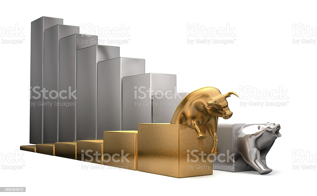 Golden bull and silver bear economic indicators stock photo