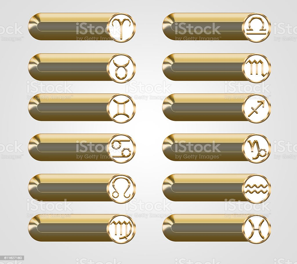 Golden buttons with the astrological signs of the zodiac stock photo
