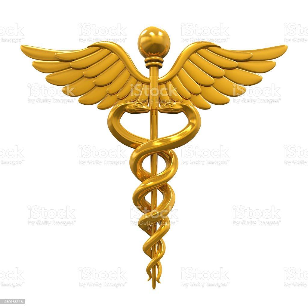 Golden Caduceus Medical Symbol stock photo