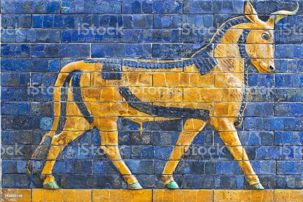 Golden Calf, ancient mosaic, Assyria stock photo