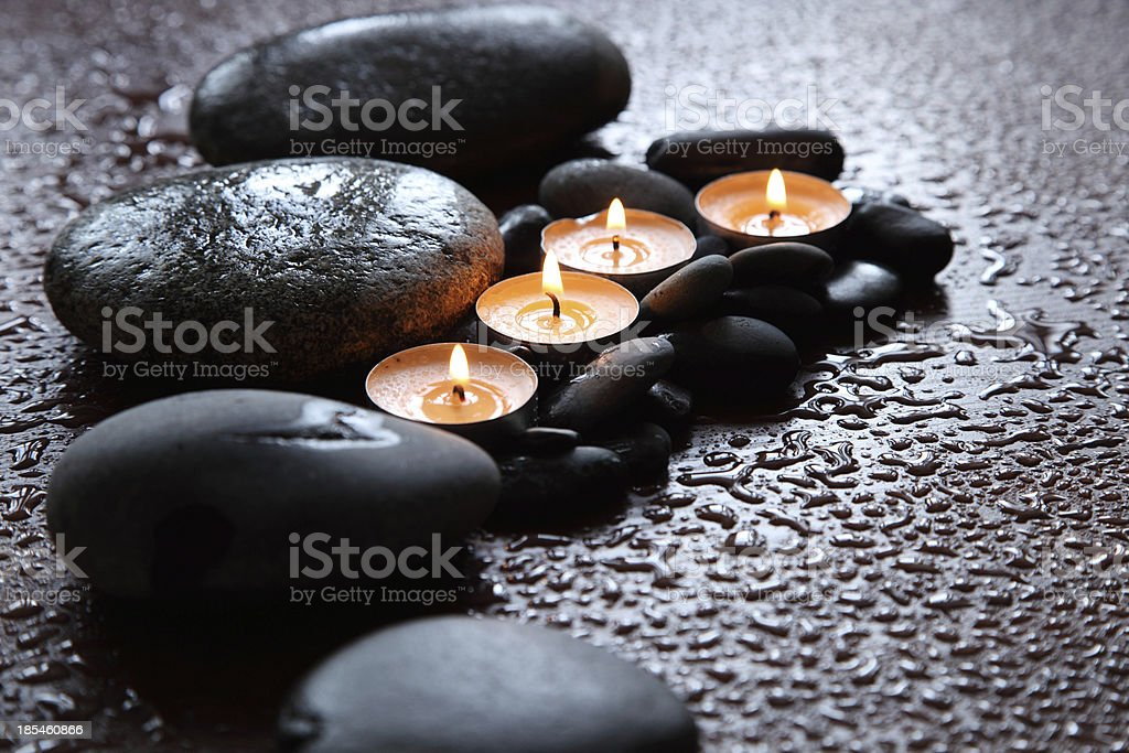 Golden candle group royalty-free stock photo