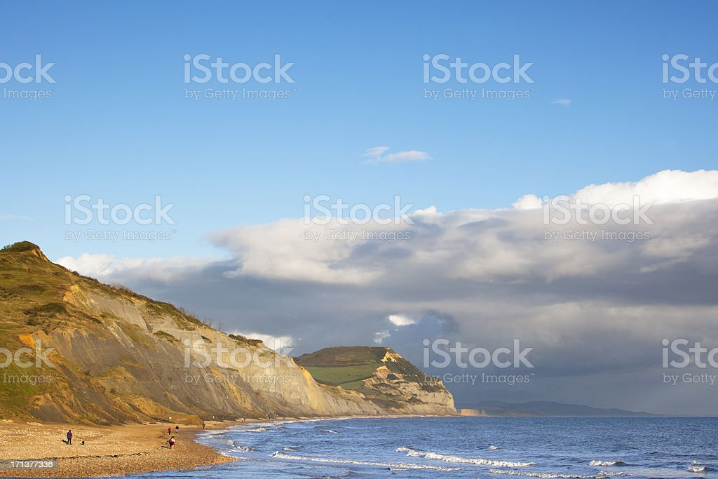 Golden Cap viewed from Charmouth, Dorset, England stock photo