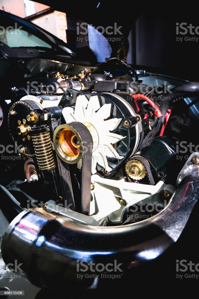 Golden car engine stock photo