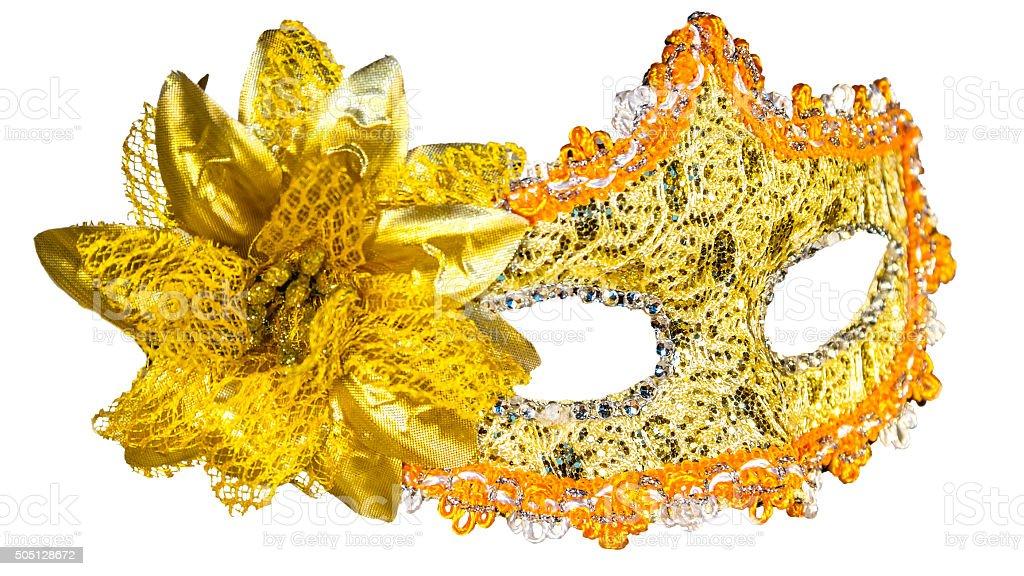 Golden carnival mask isolated on white background stock photo
