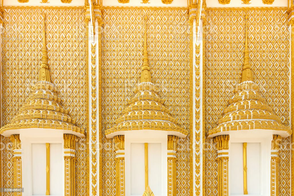 Golden carve window in temple royalty-free stock photo