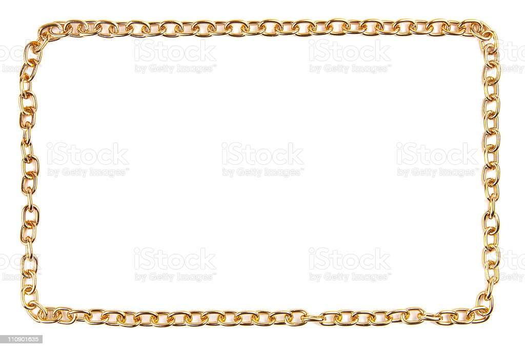 A golden chain frame on a white background stock photo