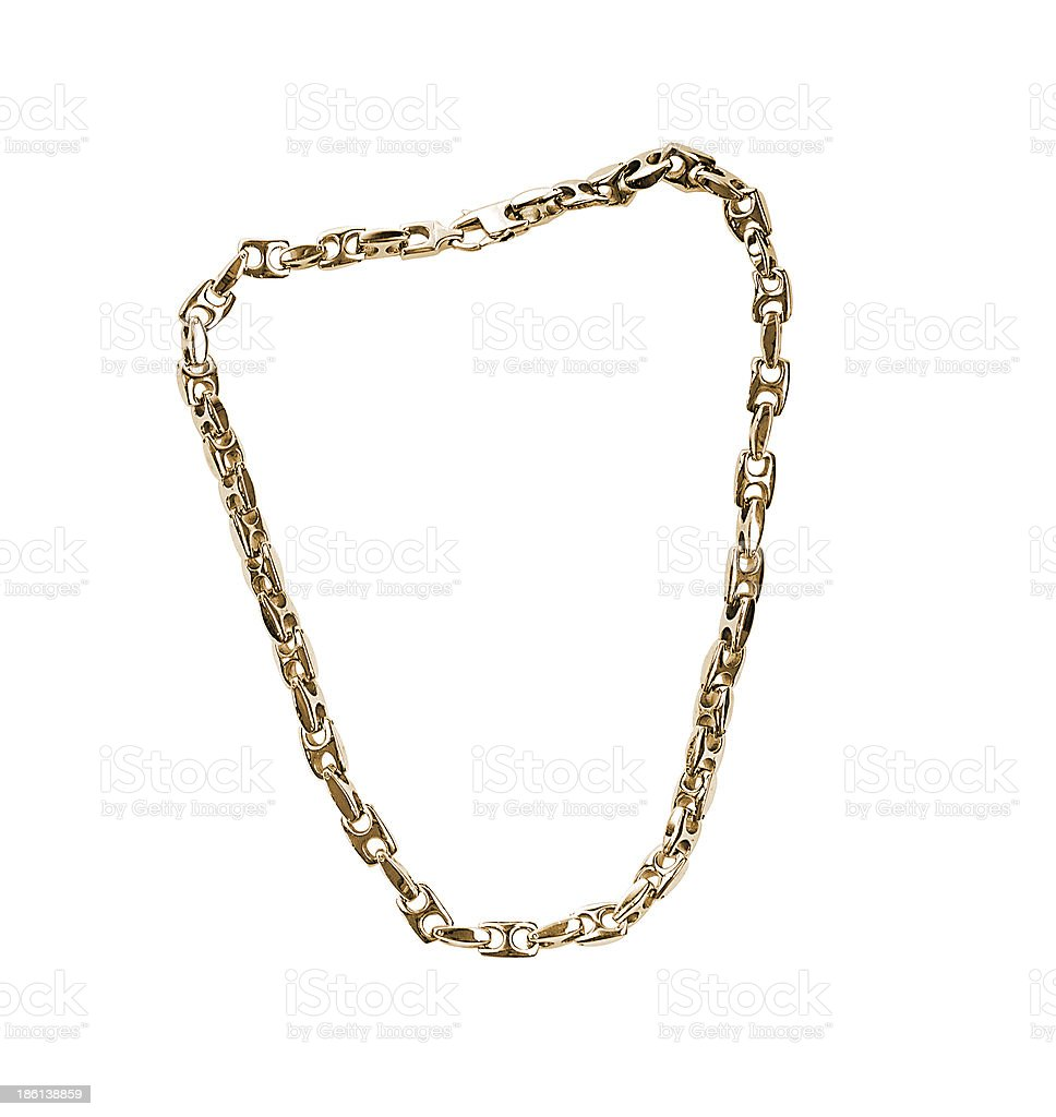 Golden chain isolated on white background royalty-free stock photo